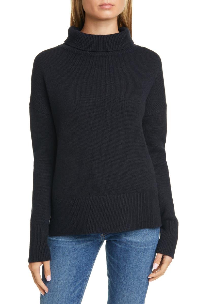 NORDSTROM SIGNATURE Turtleneck Cashmere Sweater, Main, color, 001