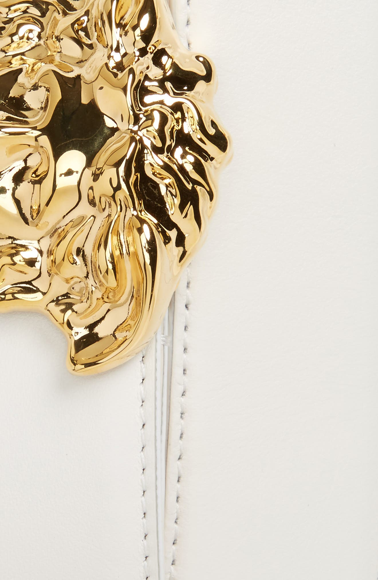 ,                             Medusa Head Leather Belt,                             Alternate thumbnail 2, color,                             WHITE/HOT GOLD
