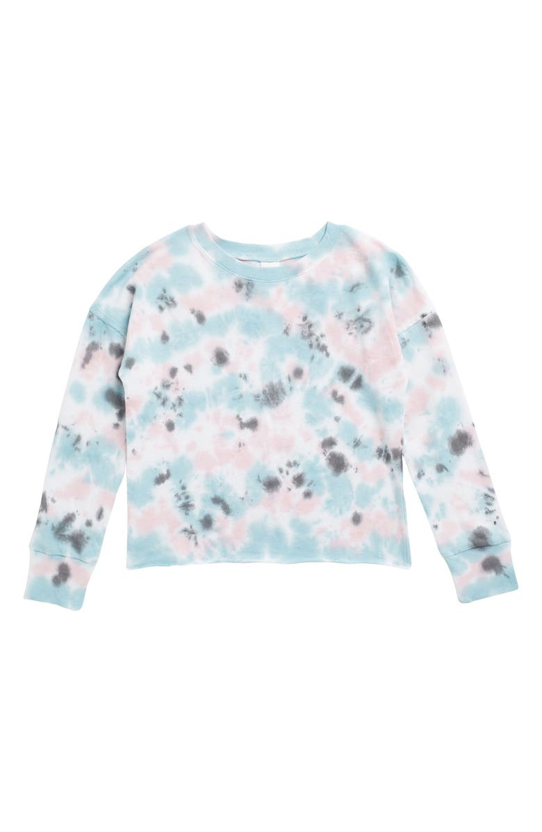 MELROSE AND MARKET Printed Fleece Pullover Sweater, Main, color, BLUE ORYDALIS- PINK TIE DYE