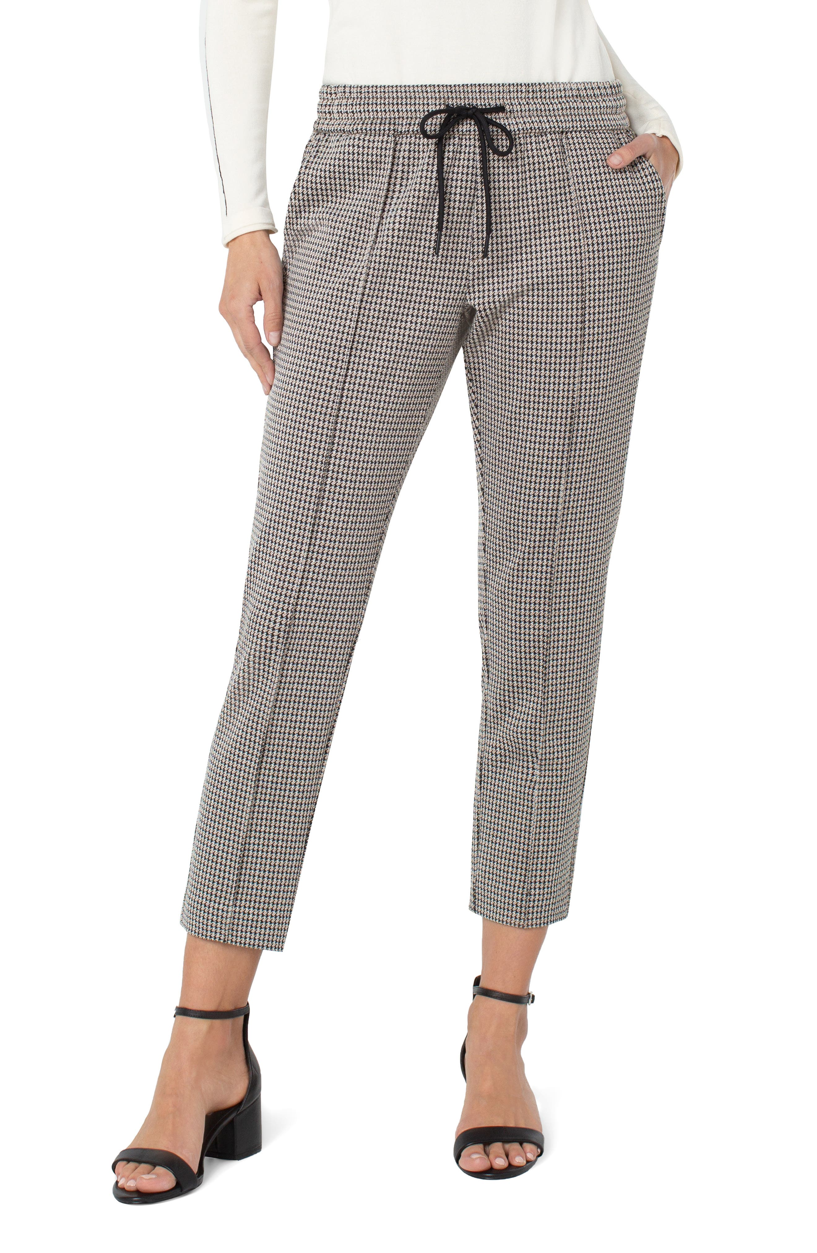 Houndstooth Pull-On Knit Ankle Pants