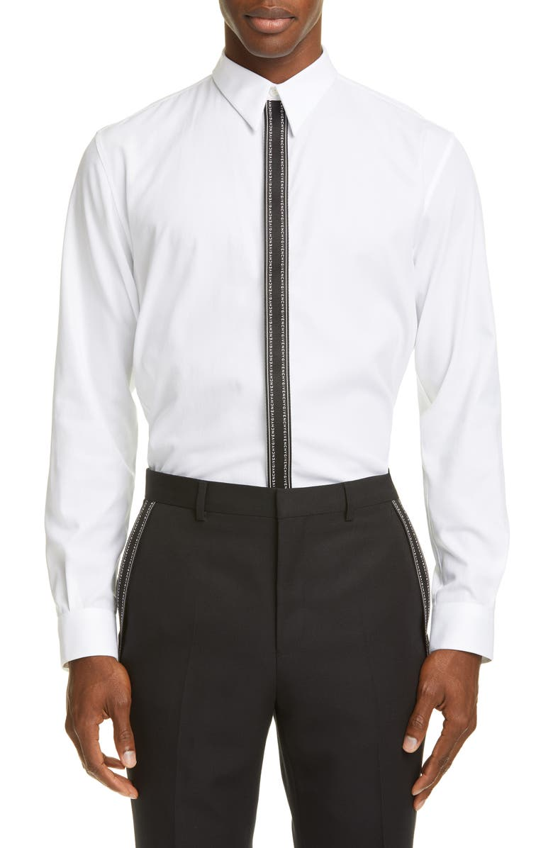 GIVENCHY Branded Placket Point Collar Shirt, Main, color, WHITE