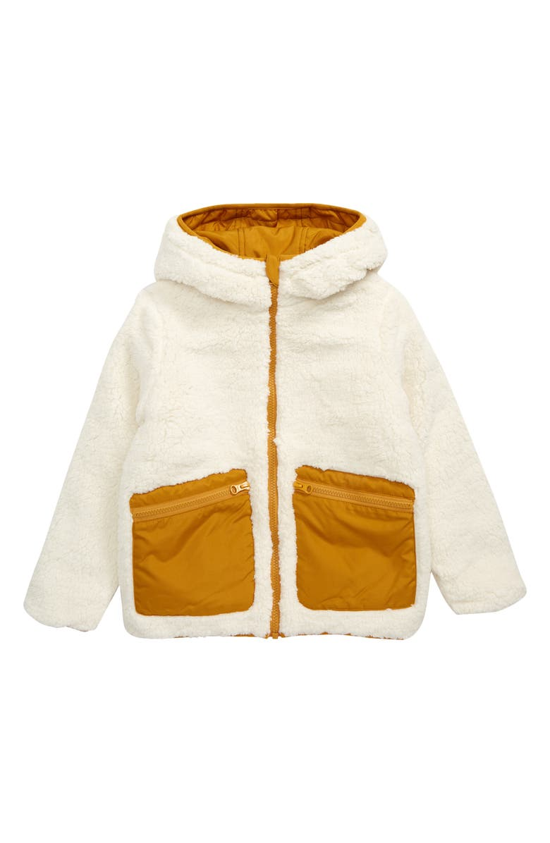 TUCKER + TATE Kids' Reversible Fleece & Quilted Puffer Jacket, Main, color, IVORY EGRET- YELLOW