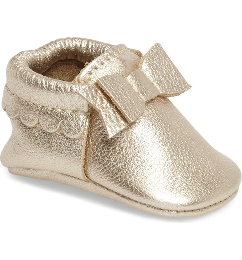 FRESHLY PICKED Metallic Bow Moccasin, Main, color, PLATINUM