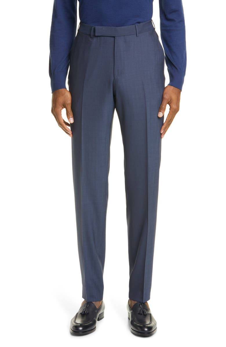 ERMENEGILDO ZEGNA High Performance Flat Front Solid Wool Dress Pants, Main, color, BLUE