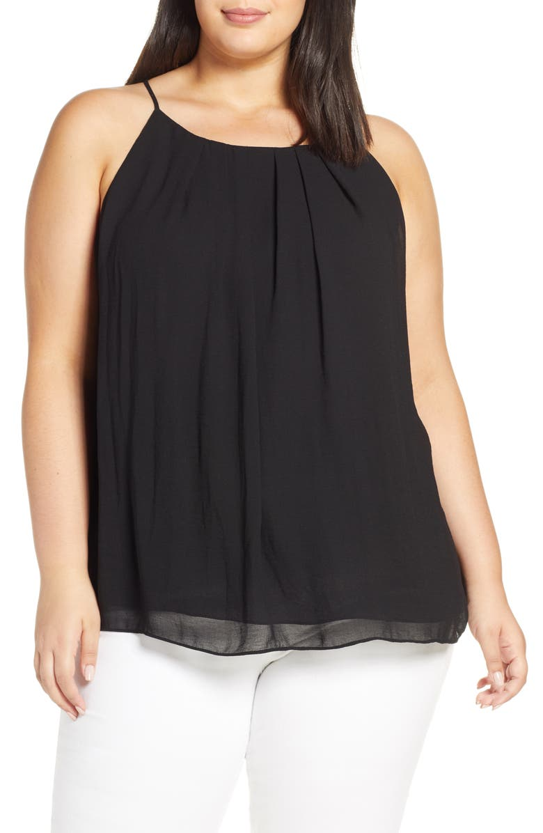 VINCE CAMUTO Pleat Front Chiffon Top, Main, color, 006