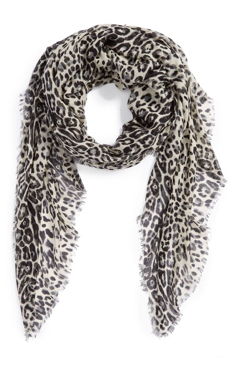 JIMMY CHOO Oversized Leopard Print Scarf, Main, color, 001