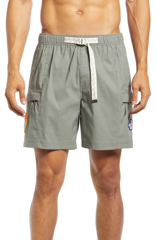 The North Face Class V Nylon Blend Belted Relaxed Fit Cargo Shorts In Agave Green