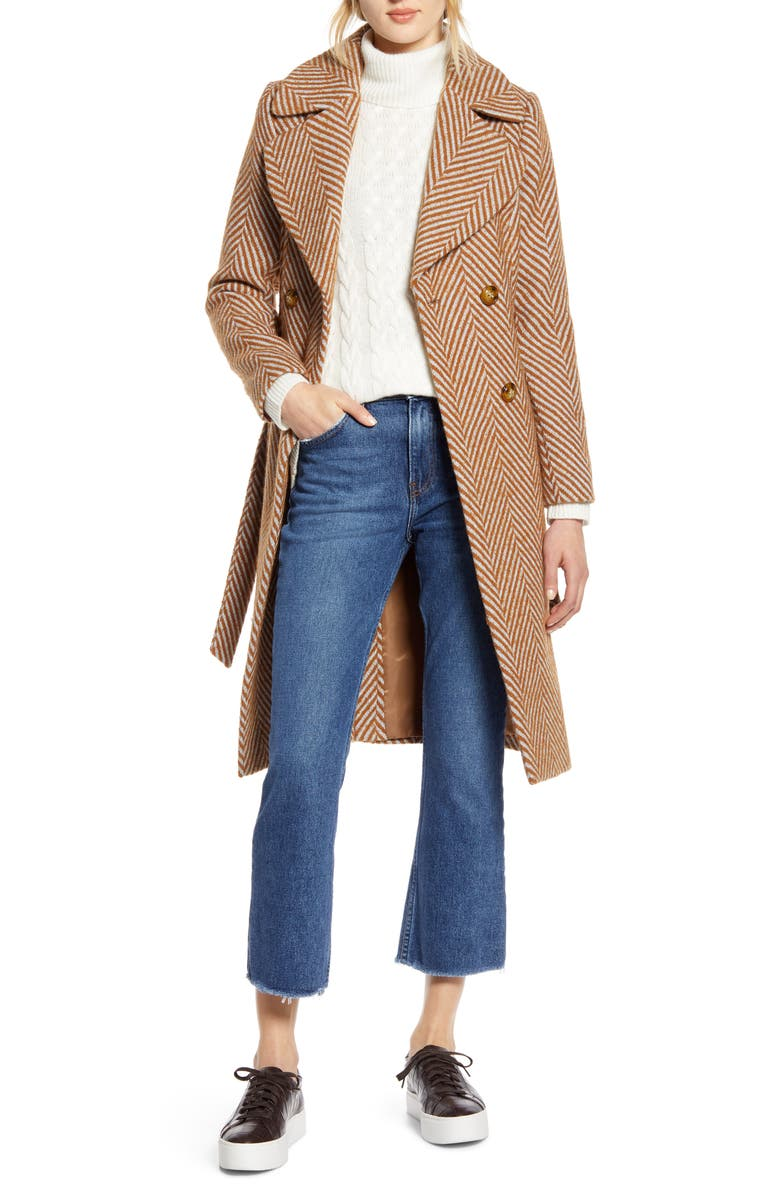 HALOGEN<SUP>®</SUP> x Atlantic-Pacific Belted Herringbone Coat, Main, color, CAMEL GREY