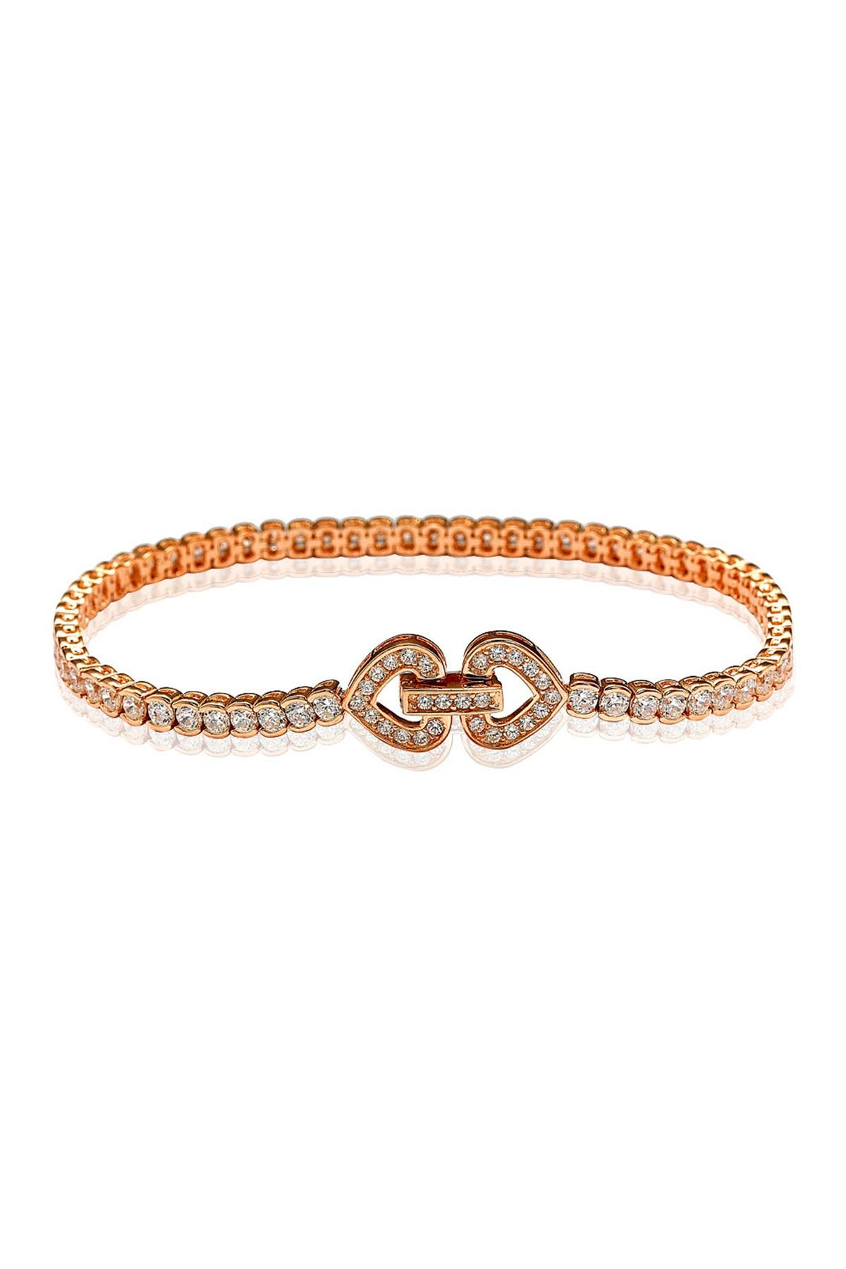 Image of Suzy Levian Rose Gold Plated Sterling Silver Pave CZ Bracelet