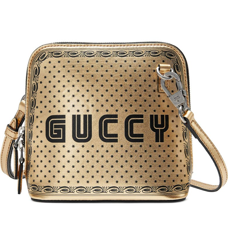 GUCCI Guccy Logo Moon & Stars Leather Crossbody Bag, Main, color, 710