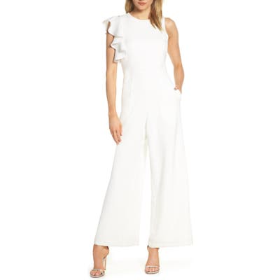 Julia Jordan Hunter Crepe Ruffle Shoulder Jumpsuit, Ivory
