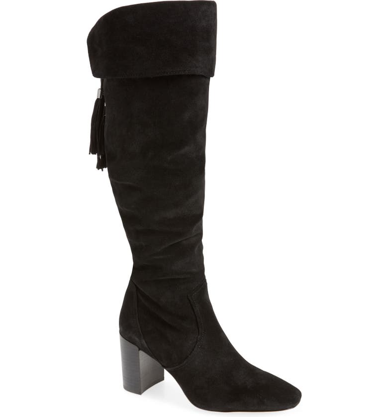 KARL LAGERFELD PARIS Razo Tassel Knee High Boot, Main, color, 001