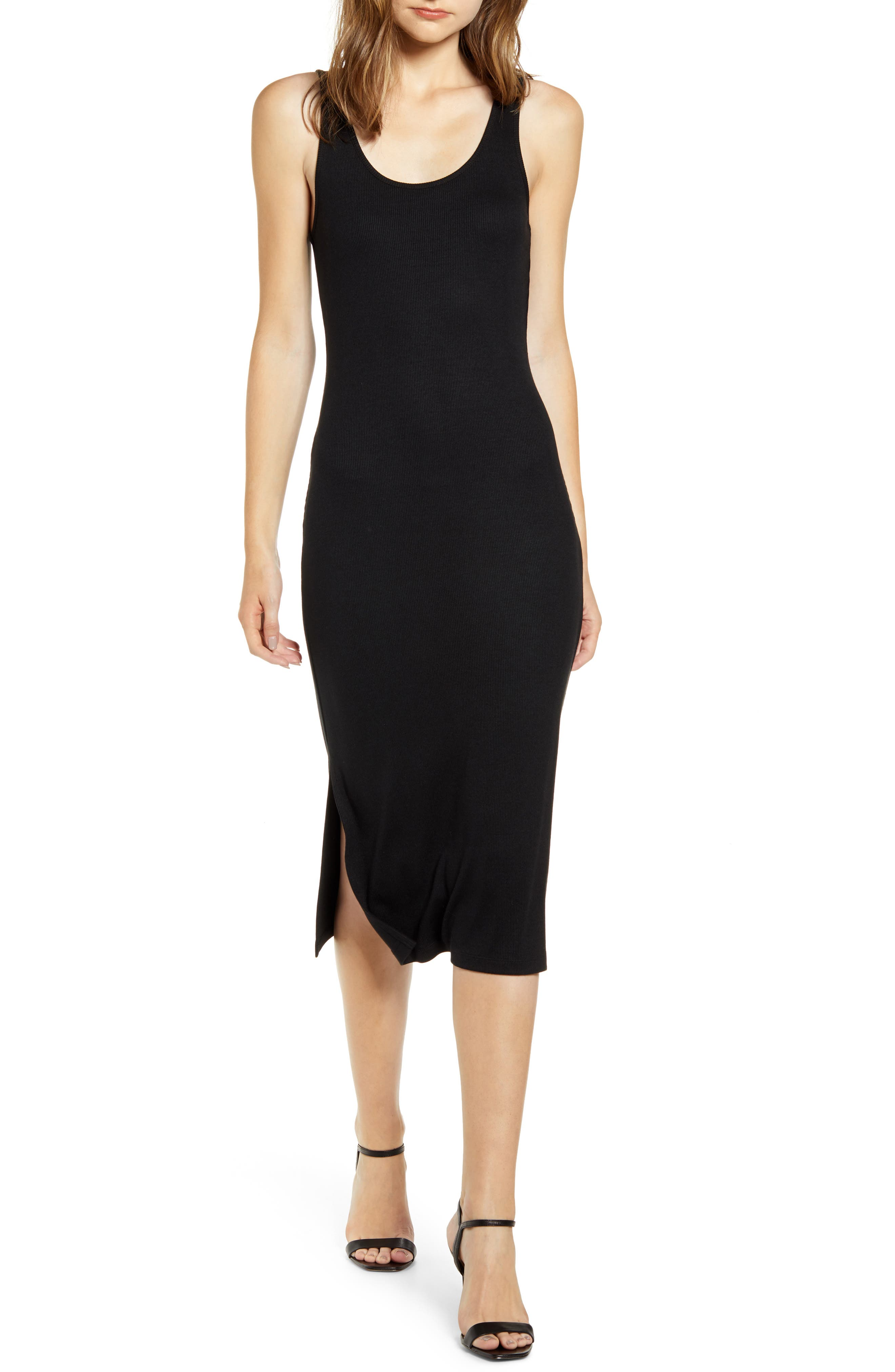 Chelsea28 Side Slit Midi Tank Dress, Black