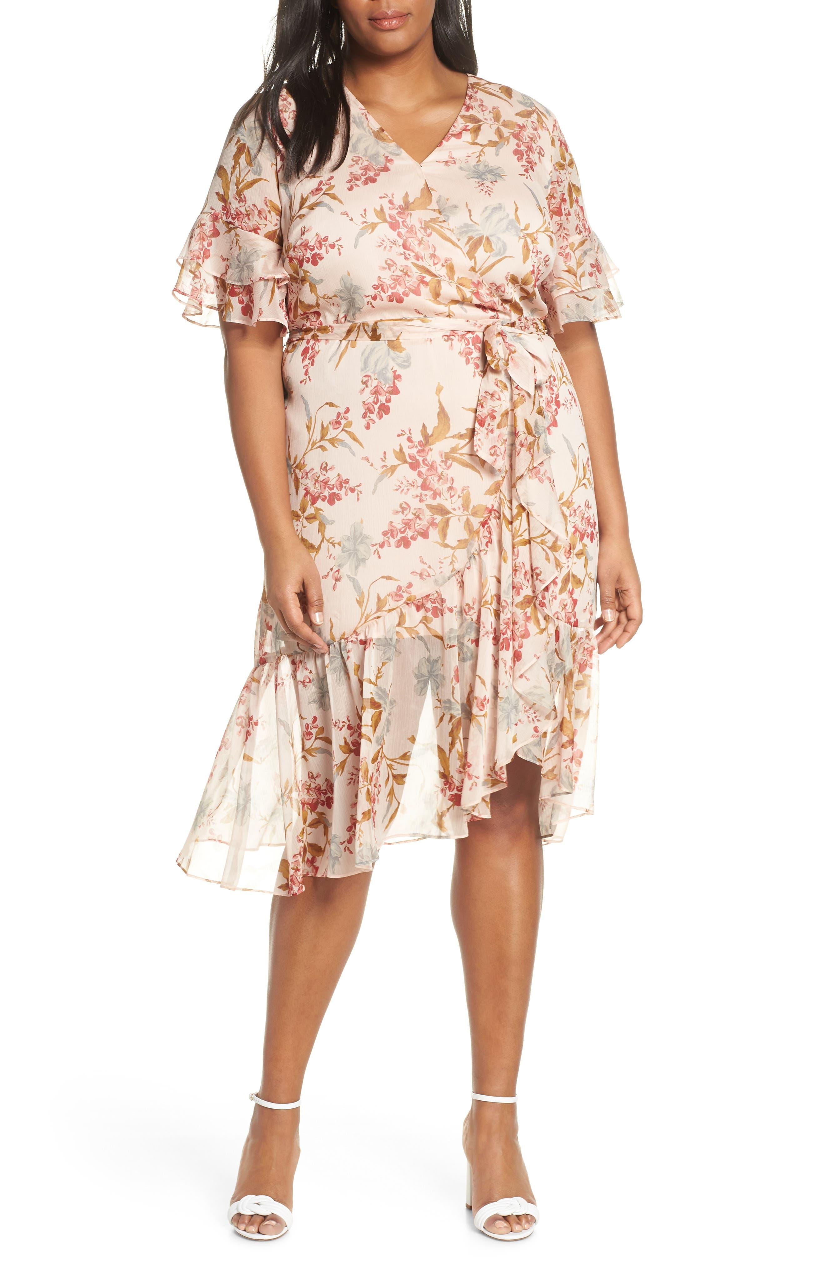 plus size women's vince camuto wildflower tiered ruffle chiffon dress, size 24w - orange