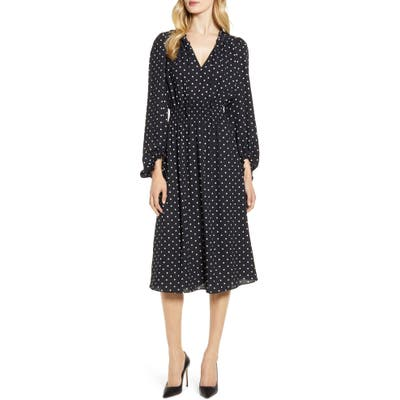 Anne Klein Dot Print Smocked Waist Dress, Black