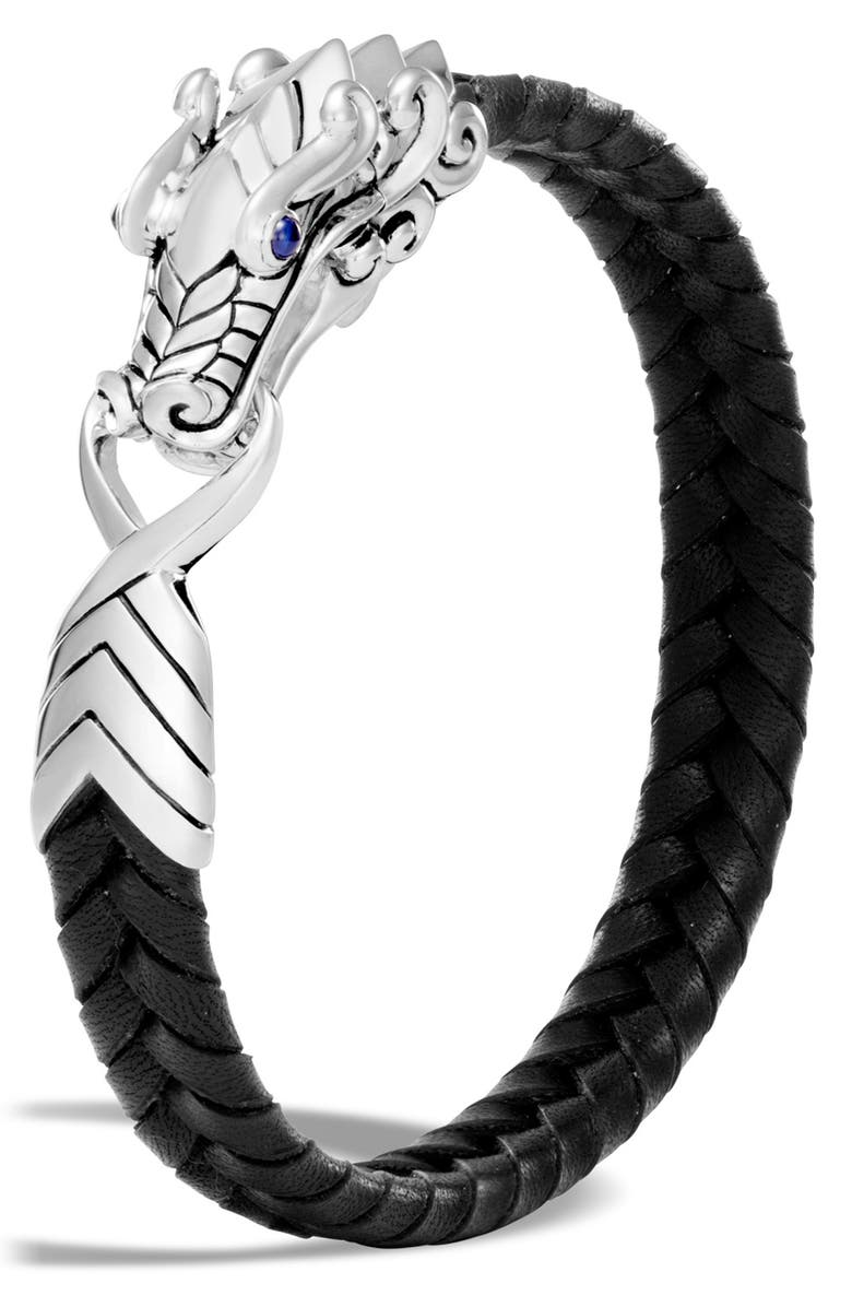 JOHN HARDY Naga Station Leather Bracelet, Main, color, SILVER/BLACK