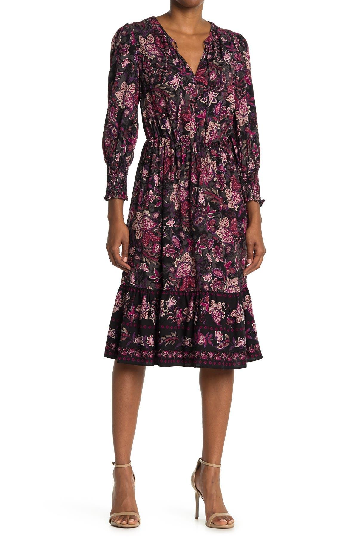 Image of London Times Challis Floral Long Sleeve Flounce Midi Dress