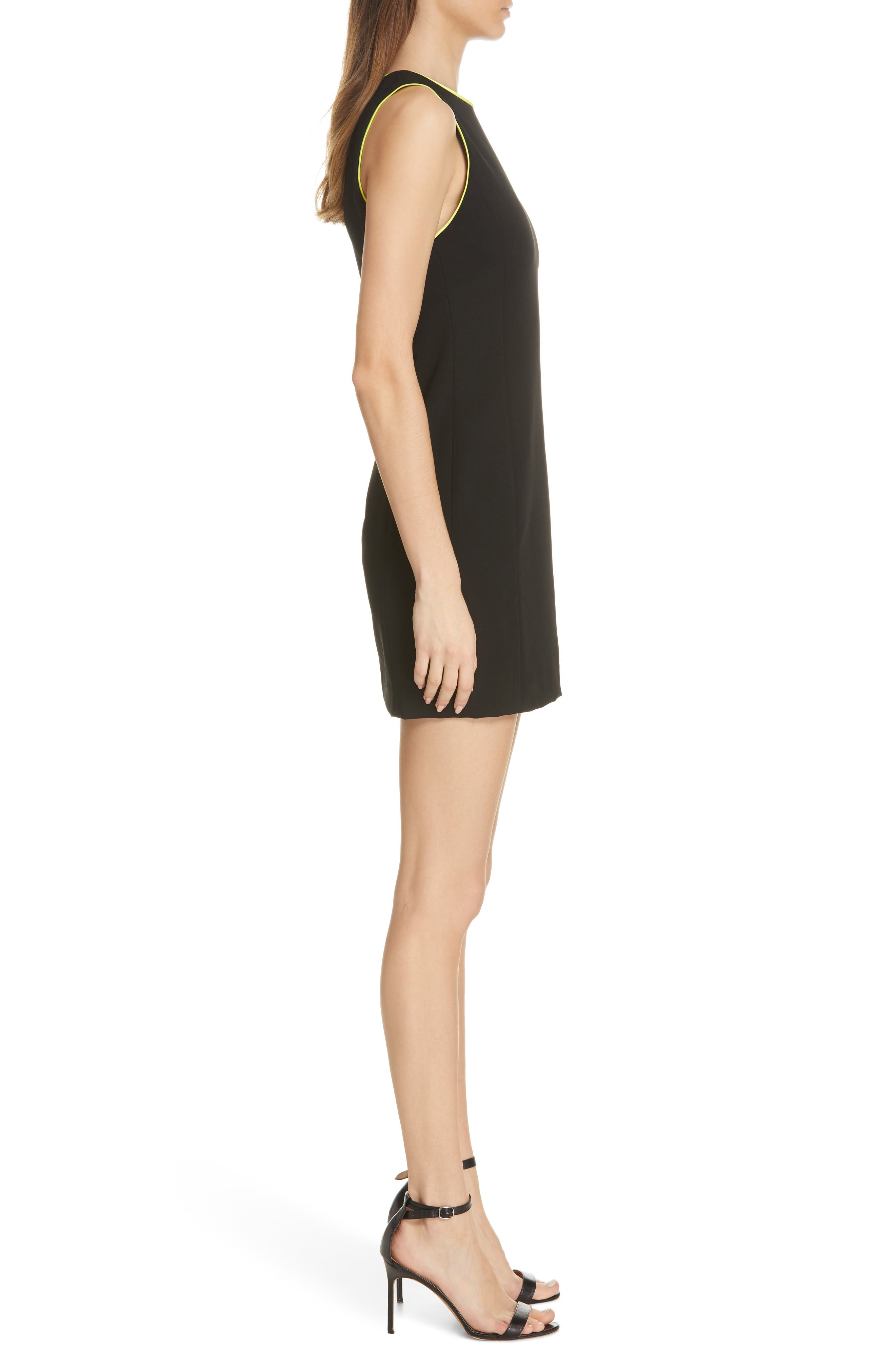 ,                             Clyde A-Line Dress,                             Alternate thumbnail 4, color,                             BLACK/ NEON YELLOW