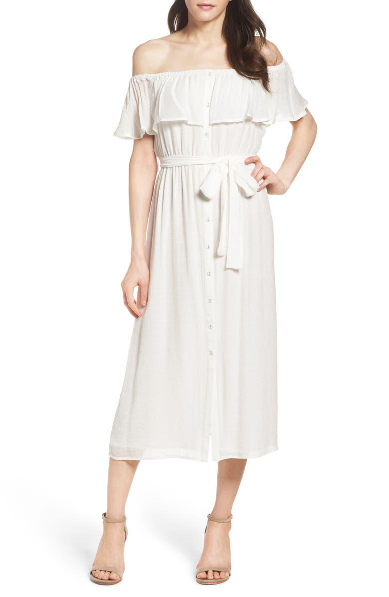 BARDOT Marina Ruffle Off the Shoulder Midi Dress, Main, color, IVORY
