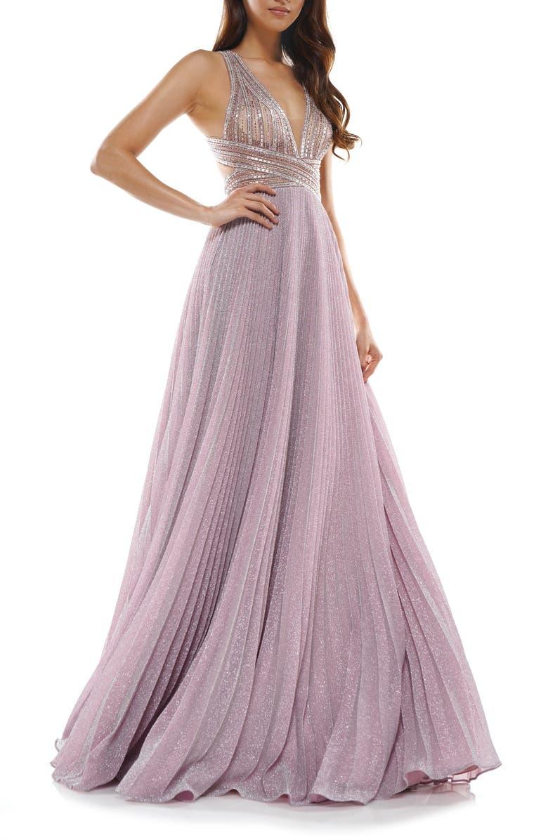 COLORS DRESS Halter Embellished Top Gown, Main, color, PINK