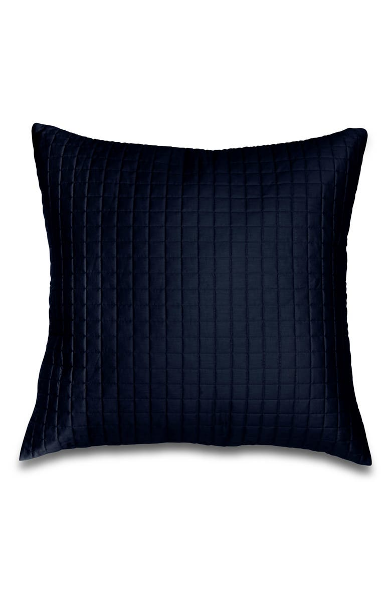 SIGNORIA FIRENZE Masaccio Knife Edge 300 Thread Count Quilted Euro Sham, Main, color, MIDNIGHT BLUE