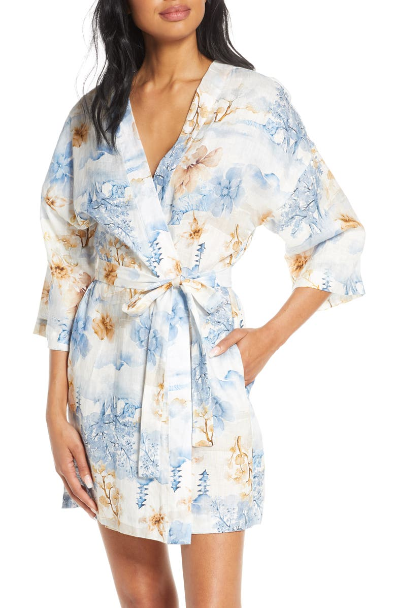 THE LAZY POET Lola Floral Short Robe, Main, color, JAPANESE GARDEN