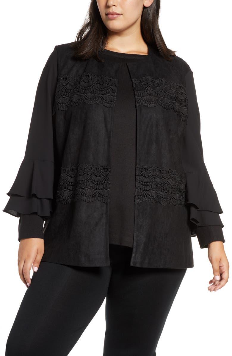MING WANG Lace Trim Faux Suede Vest, Main, color, BLACK