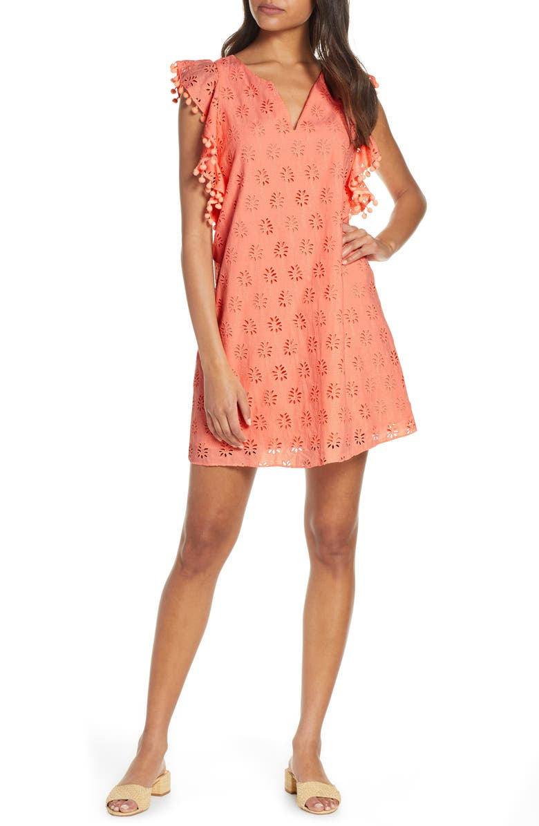 9cab3393fffa8d Astara Eyelet Shift Dress, Main, color, PEACH FLAMINGO LILLY PALM TREE