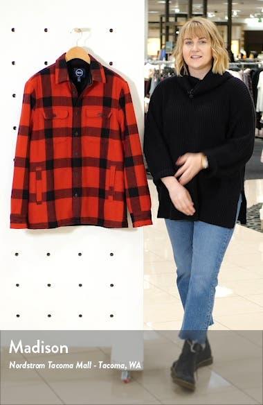 Buffalo Check Faux Fur Lined Shirt Jacket, sales video thumbnail