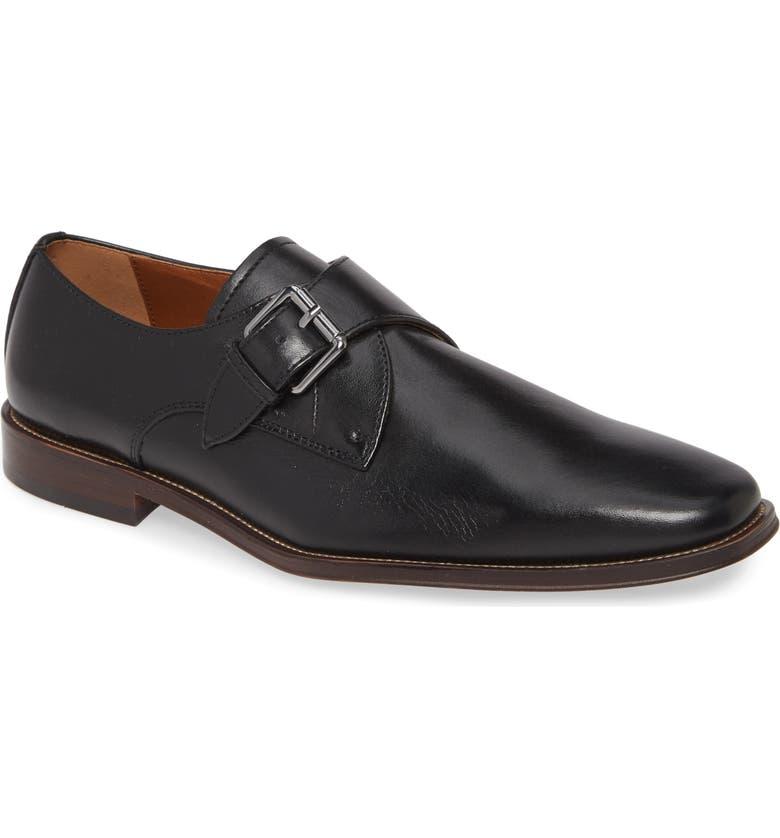 NORDSTROM MEN'S SHOP Ronni Monk Strap Shoe, Main, color, BLACK LEATHER
