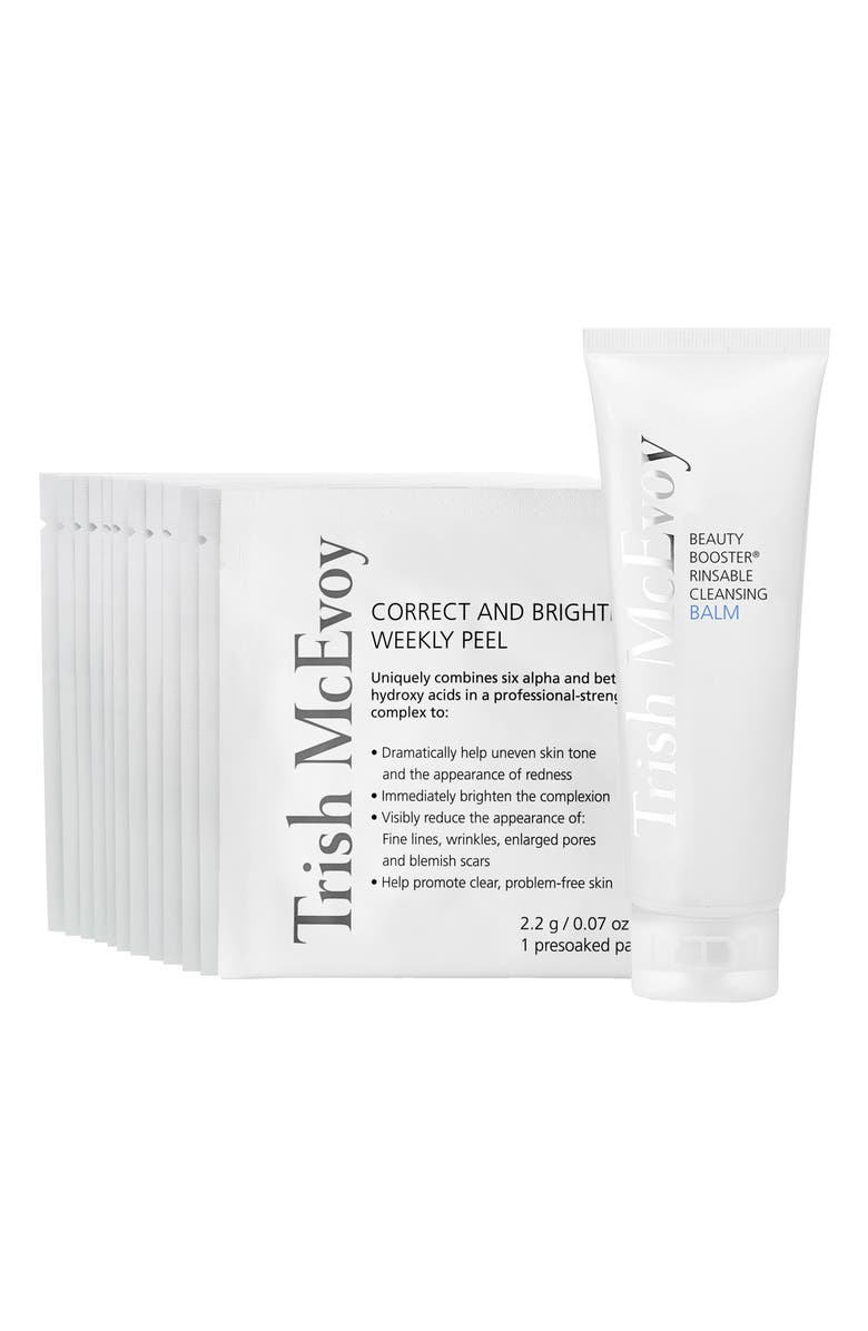 TRISH MCEVOY Boost & Brighten Cleansing Balm & Weekly Peel Set, Main, color, NO COLOR