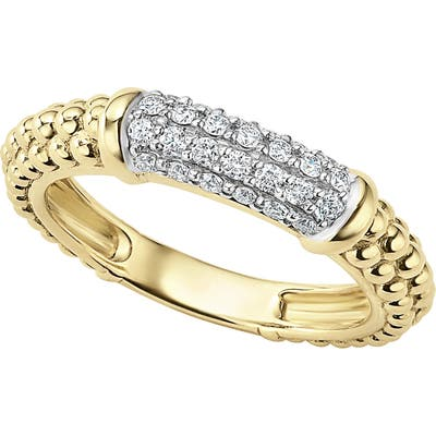 Lagos Caviar 18K Gold & Diamond Pave Stacking Ring