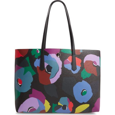 Kate Spade New York Large Molly Floral Collage Leather Tote - Black