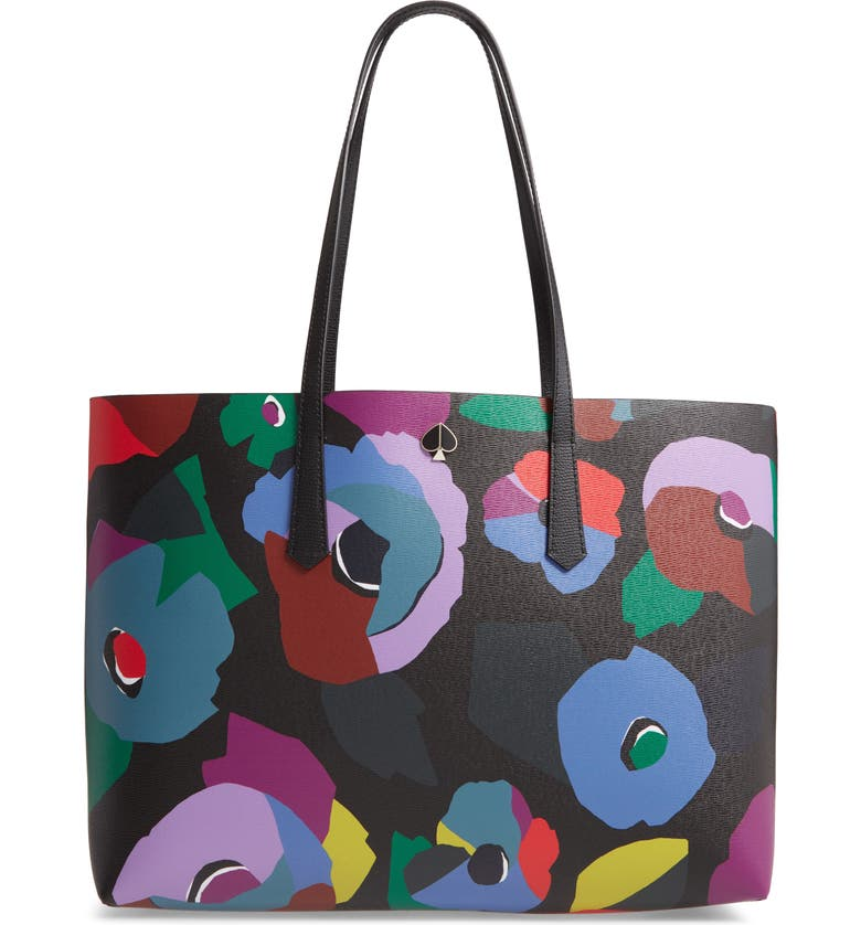 KATE SPADE NEW YORK large molly floral collage leather tote, Main, color, BLACK MULTI