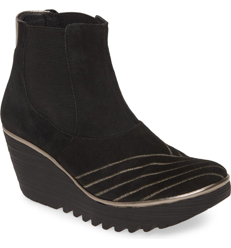 FLY LONDON Yave Wedge Chelsea Boot, Main, color, BLACK LEATHER