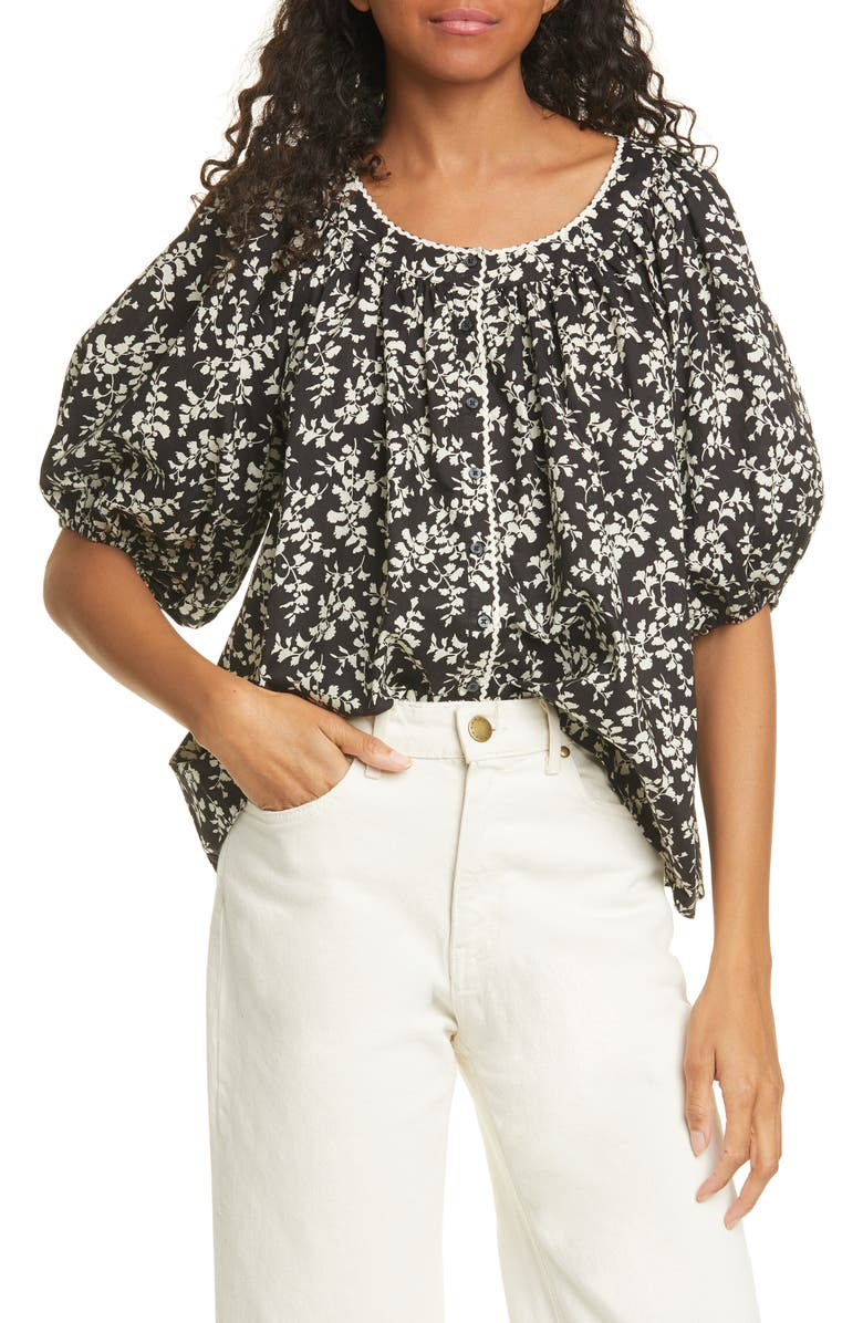 THE GREAT. The Elm Floral Puff Sleeve Top, Main, color, 008
