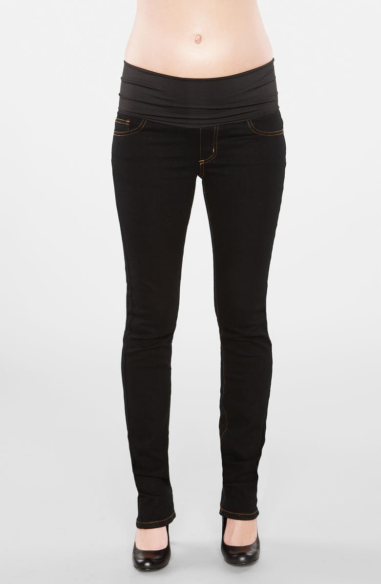 MATERNAL AMERICA Straight Leg Stretch Maternity Jeans, Main, color, BLACK