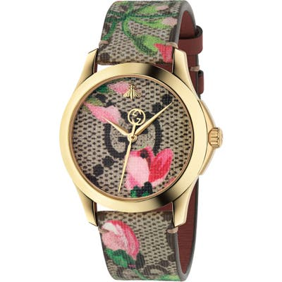 Gucci G-Timeless Print Canvas Strap Watch,