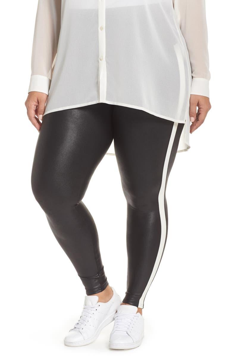 ed17f986b7755 SPANX® Side Stripe Faux Leather Leggings (Plus Size)   Nordstrom