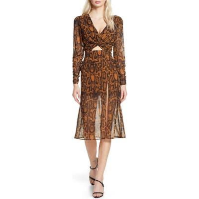 Finders Keepers Lana Snakeskin Print Long Sleeve Dress, Brown