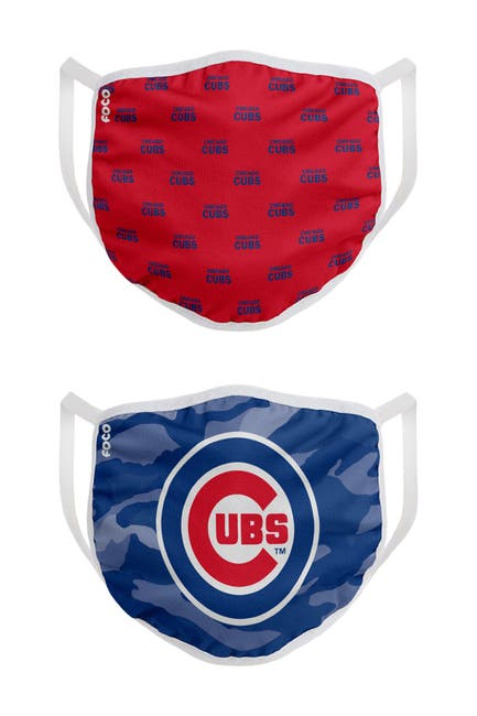 Image of FOCO MLB Chicago Cubs Clutch Printed Face Cover - Pack of 2