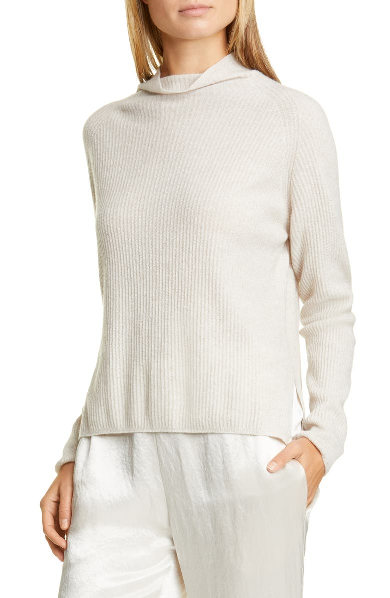 MAX MARA LEISURE Spiga Ribbed Wool & Cashmere Funnel Neck Sweater, Main, color, BEIGE
