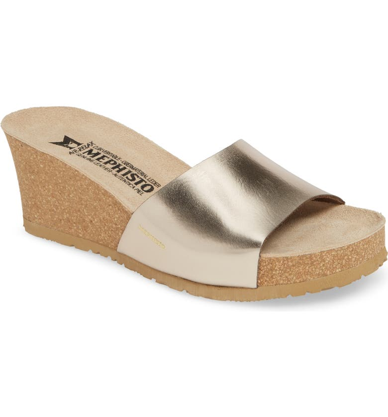 MEPHISTO Lise Platform Wedge Sandal, Main, color, PLATINUM LEATHER