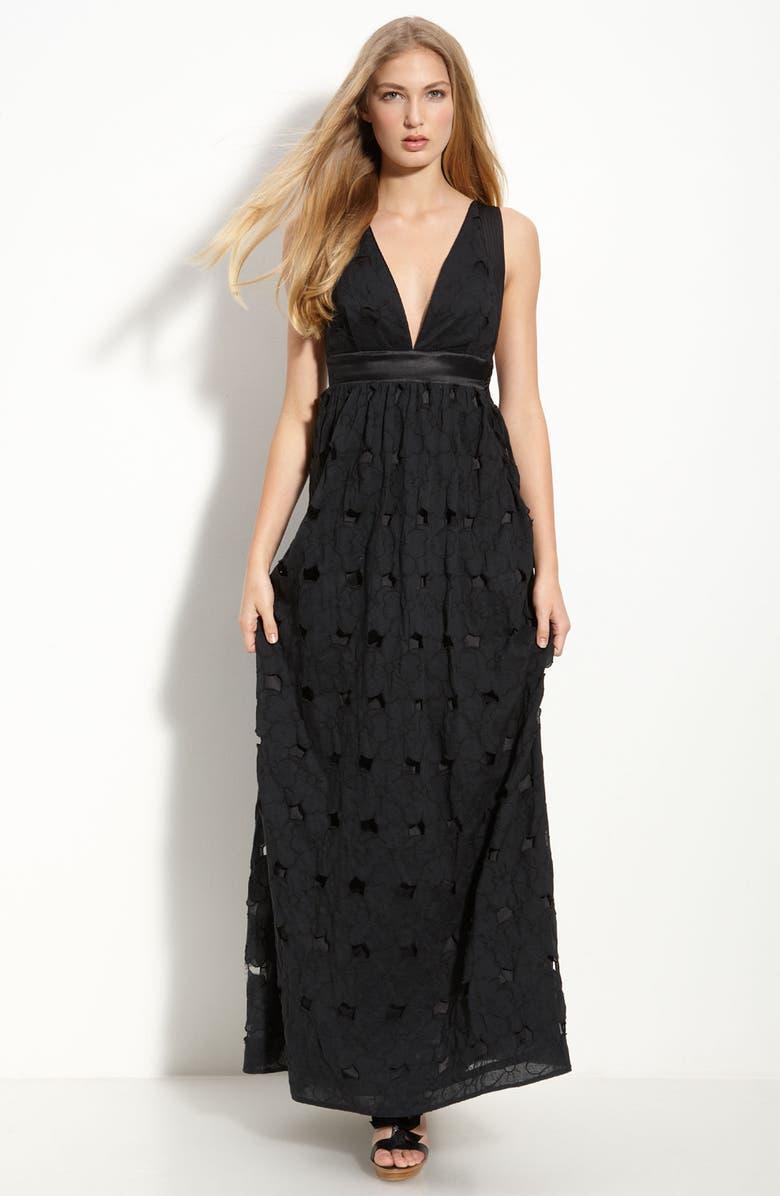 LEIFSDOTTIR Jumbo Eyelet Maxi Dress, Main, color, ONYX BLACK