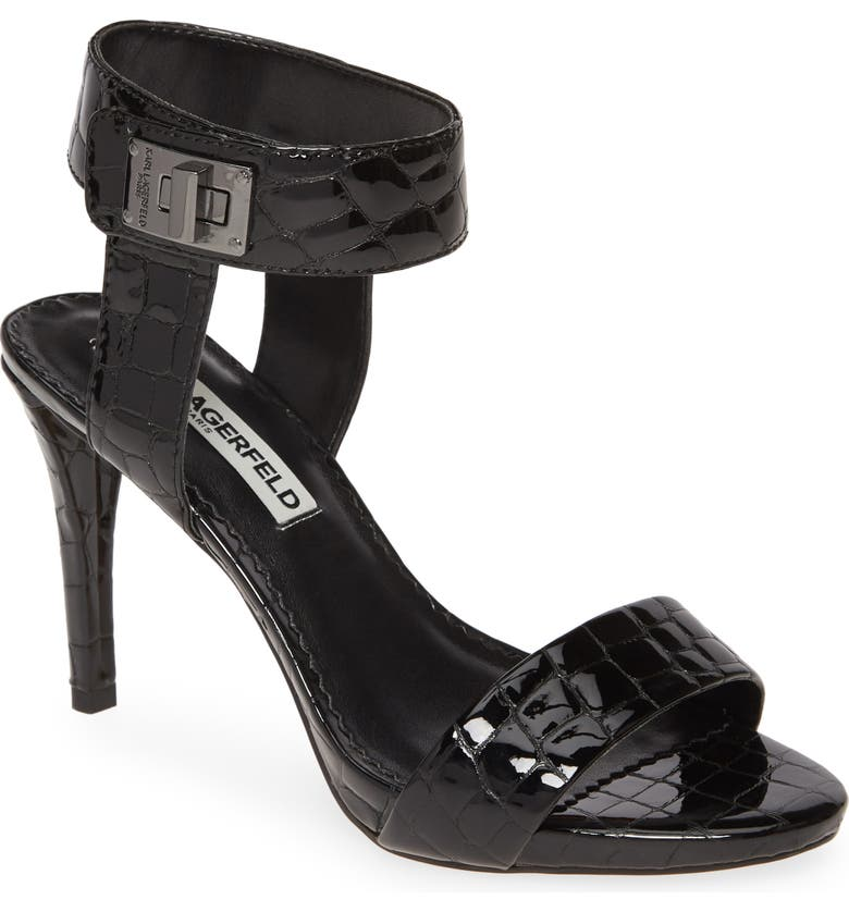 KARL LAGERFELD PARIS Olivia Ankle Strap Sandal, Main, color, BLACK PATENT LEATHER
