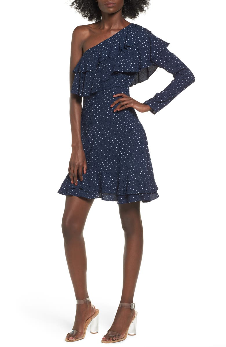 WAYF Lace One-Shoulder Minidress, Main, color, 402