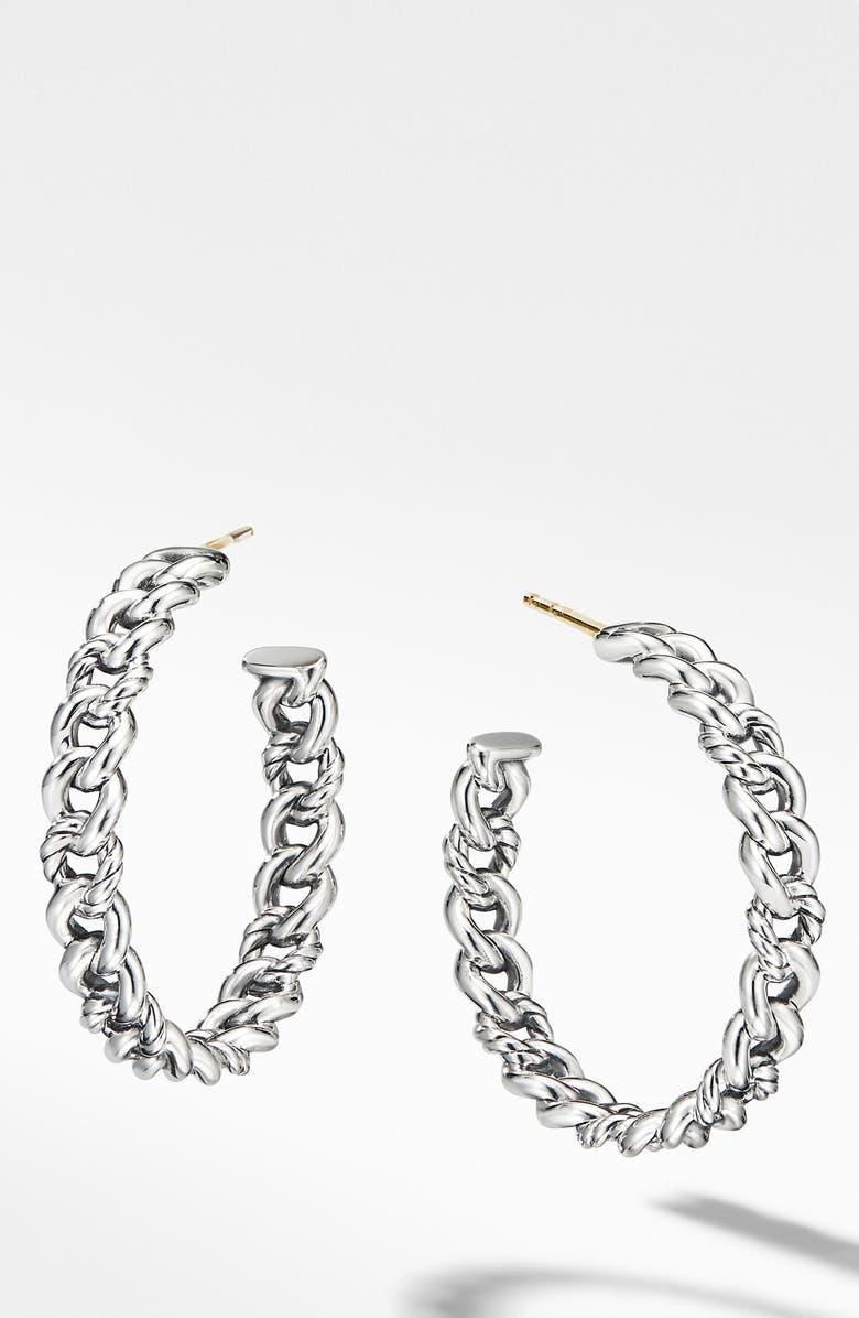 DAVID YURMAN Belmont Chain Hoop Earrings, Main, color, SILVER