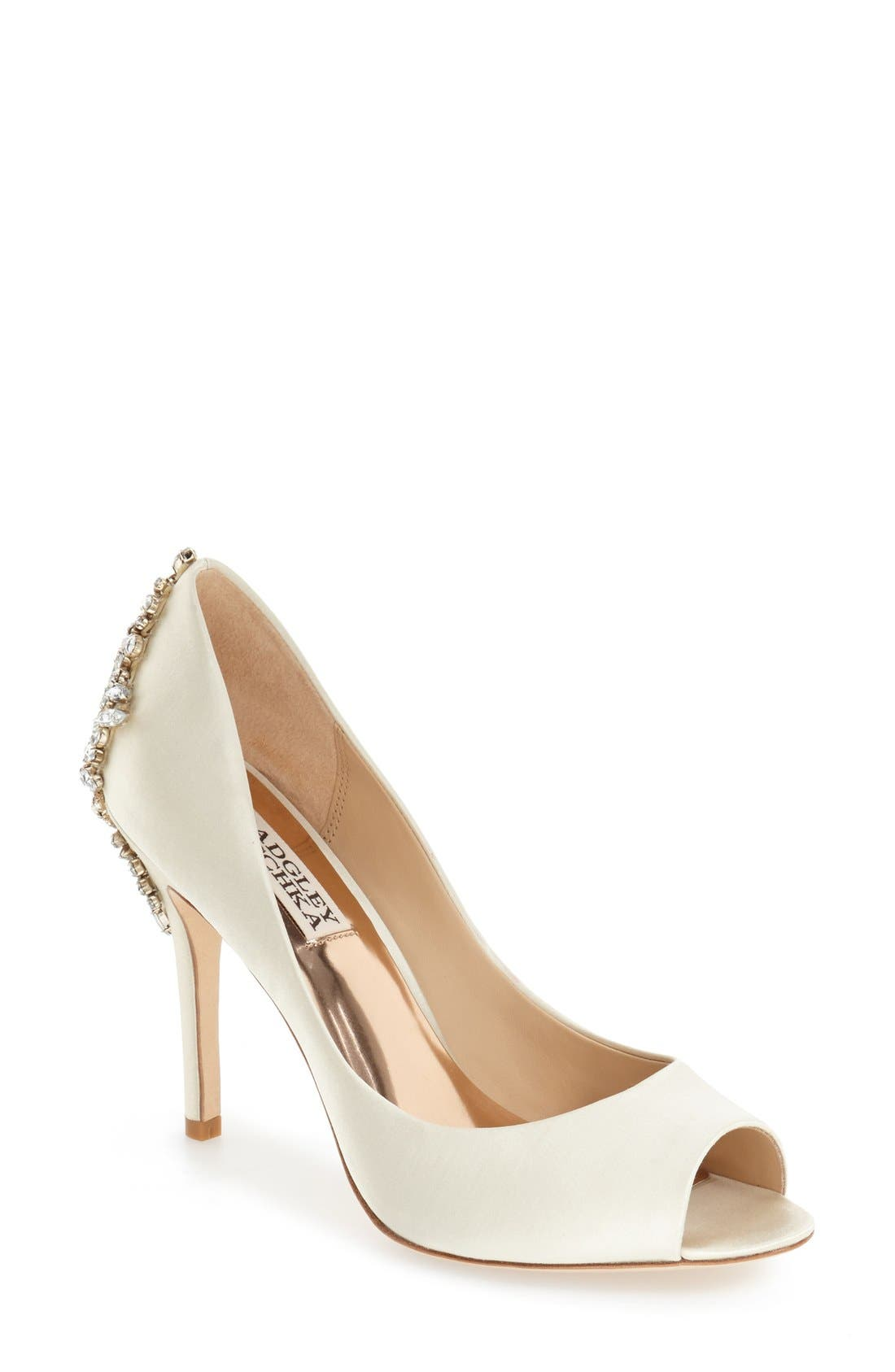 Image of Badgley Mischka Nilla Embellished Back Peep Toe Pump