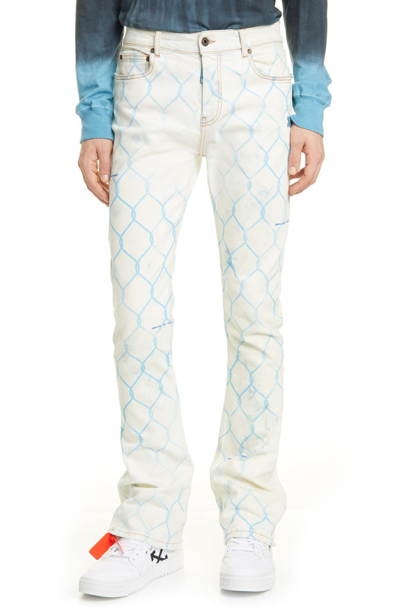 OFF-WHITE Fence Print Skinny Flare Jeans, Main, color, 400