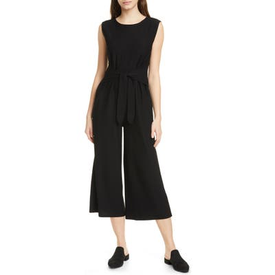 Eileen Fisher Sleeveless Crop Wide Leg Jumpsuit, Black